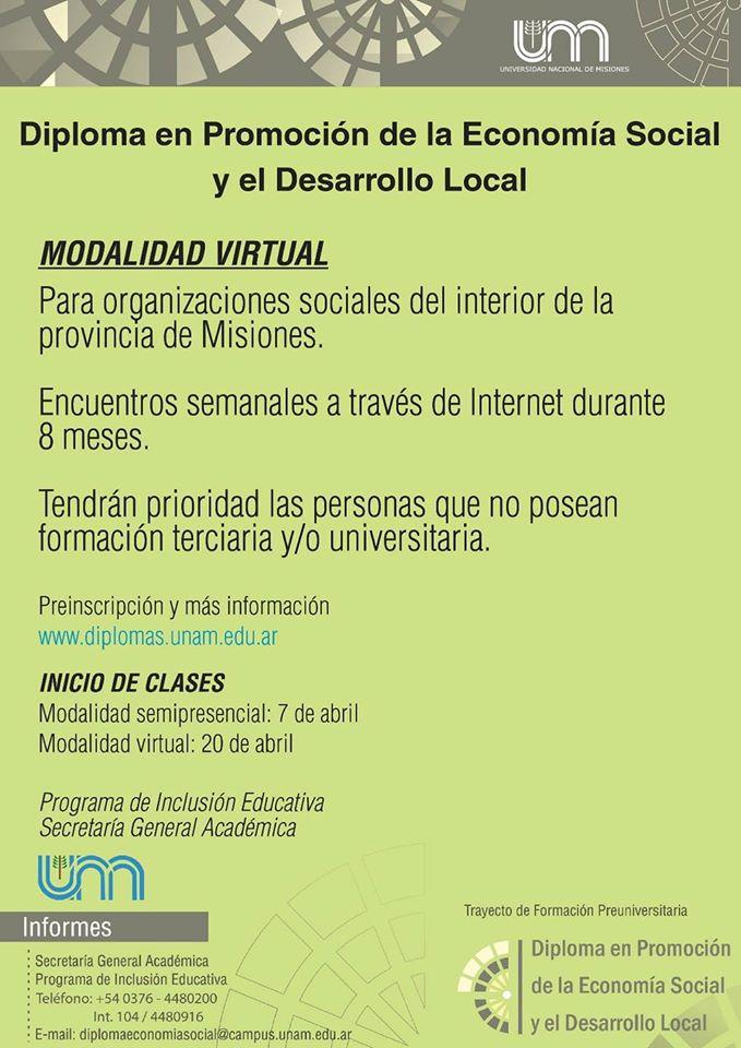 DIPLOMA EN ECONOMÍA SOCIAL Y DESARROLLO LOCAL